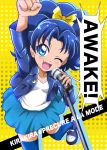 1girl ;d arm_up blue_eyes blue_hair blue_jacket blue_legwear blue_skirt blush bow clenched_hand copyright_name cover cover_page doujin_cover fang hair_bow hanzou highres jacket kirakira_precure_a_la_mode looking_at_viewer microphone one_eye_closed open_mouth polka_dot polka_dot_background precure shirt shoes short_hair skirt smile solo standing standing_on_one_leg tategami_aoi thigh-highs white_shirt yellow_background yellow_bow