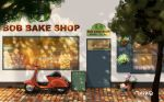 artist_name bakery door english flower highres inika menu_board moped no_humans original plant potted_plant scenery shop window