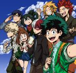2girls 6+boys absurdres alternate_costume asui_tsuyu bakugou_katsuki blonde_hair blue_hair blue_sky blush_stickers boku_no_hero_academia brown_hair cardigan casual clouds day drink freckles glasses green_hair heterochromia highres iida_tenya kaminari_denki kirishima_eijirou long_sleeves looking_at_viewer midoriya_izuku multicolored_hair multiple_girls one_eye_closed open_mouth pants redhead salute scarf shirt sideburns silver_hair skirt sky sleeves_rolled_up smile sunglasses todoroki_shouto two-tone_hair uraraka_ochako white_hair