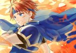 1boy armor blood blue_eyes cape fire fire_emblem fire_emblem:_fuuin_no_tsurugi gloves headband kiyuu male_focus redhead roy_(fire_emblem) short_hair smile solo