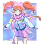 1girl animal_hat cat_hat cat_tail cyan_eyes earrings hat highres ice_skates iesupa jacket jewelry neon_katt orange_hair rwby scarf skates smile solo tail twintails