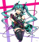 1girl bangs character_name copyright_name gia gloves hatsune_miku headset highres knife long_hair megaphone open_mouth pleated_skirt skirt solo thigh-highs thigh_strap trigger_discipline twintails vocaloid white_background