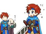 armor bald blue_eyes blush cape chibi closed_eyes cosplay durandal_(fire_emblem) eliwood_(fire_emblem) eliwood_(fire_emblem)_(cosplay) facial_hair father_and_son fire_emblem fire_emblem:_fuuin_no_tsurugi fire_emblem:_rekka_no_ken fire_emblem_heroes headband holding holding_weapon male_focus mustache redhead roy_(fire_emblem) short_hair smile sword weapon white_background