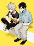 2boys bakugou_katsuki black_hair black_pants black_shirt boku_no_hero_academia collared_shirt eating food french_fries full_body glasses iida_tenya male_focus maneki-neko_(fujifuji) multiple_boys pants shirt shoes short_sleeves silver_hair simple_background sitting spiky_hair yellow_background