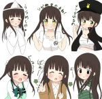 6+girls :t alternate_costume alternate_hairstyle ama_usa_an_uniform argyros bangs black_eyes black_hat black_jacket blunt_bangs blush bow bowtie breasts brown_hair brown_jacket buttons closed_eyes collarbone collared_shirt commentary_request eyebrows_visible_through_hair facing_viewer flower gakuran gochuumon_wa_usagi_desu_ka? green_best green_bow green_bowtie green_eyes green_kimono hair_flower hair_ornament hands_together hat highres jacket japanese_clothes jewelry kimono long_hair long_sleeves looking_at_viewer medium_breasts multiple_girls multiple_views necklace open_mouth pout rabbit_house_uniform ribbon school_uniform shirt short_sleeves sidelocks sleeves_past_wrists smile striped striped_kimono t-shirt translation_request triangular_headpiece twintails ujimatsu_chiya upper_body white_background white_flower white_kimono white_ribbon white_shirt wing_collar