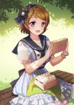 1girl blush bracelet breasts brown_hair emia_wang eyebrows_visible_through_hair highres jewelry koizumi_hanayo large_breasts looking_at_viewer love_live! love_live!_school_idol_project open_mouth puffy_short_sleeves puffy_sleeves short_hair short_sleeves sitting smile solo violet_eyes