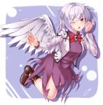 1girl aka_tawashi bangs boots bow bowtie braid breasts brooch brown_boots collared_shirt commentary_request cropped_jacket feathered_wings full_body highres jacket jewelry kishin_sagume long_sleeves looking_at_viewer medium_breasts one_eye_closed open_clothes open_jacket purple_shirt purple_skirt red_bow red_bowtie red_eyes shirt silver_hair single_wing skirt skirt_set solo touhou white_wings wing_collar wings