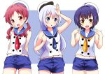 3girls :d :o arm_up arms_behind_back bare_shoulders beret blue_eyes blue_hair blue_neckerchief blue_sailor_collar blue_shorts chimame-tai commentary_request cowboy_shot eyebrows_visible_through_hair flat_chest gochuumon_wa_usagi_desu_ka? hair_ornament hair_scrunchie hairclip hat jouga_maya kafuu_chino light_blue_hair long_hair looking_at_viewer matching_outfit midriff multiple_girls naruse_mai natsu_megumi navel neckerchief open_mouth peaked_cap red_eyes red_neckerchief redhead sailor_collar scrunchie shirt short_hair short_shorts shorts sleeveless sleeveless_shirt smile standing twintails two-tone_background white_hat white_shirt x_hair_ornament yellow_eyes yellow_neckerchief