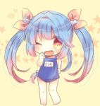 1girl barefoot blue_hair blue_swimsuit chibi fang full_body hair_ribbon i-19_(kantai_collection) kantai_collection kouu_hiyoyo long_hair name_tag open_mouth red_eyes ribbon school_swimsuit simple_background solo standing swimsuit tri_tails twintails yellow_background