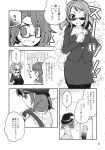 2girls bolo_tie comic fedora futatsuiwa_mamizou glasses greyscale hat highres inuinui leggings monochrome multiple_girls page_number school_uniform short_twintails skirt suit_jacket sunglasses touhou translation_request twintails usami_sumireko
