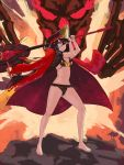 1girl aura bikini black_bikini black_hair breasts cleavage demon_archer fate/grand_order fate_(series) full_body grin hat headphones headphones_around_neck holding holding_weapon jacket_on_shoulders long_hair looking_at_viewer navel oda_nobunaga_(swimsuit_berserker)_(fate) peaked_cap quentin_lecuiller red_eyes small_breasts smile solo standing stomach swimsuit weapon