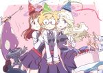 amanda_o'neill barbara_parker blonde_hair blush brown_hair constanze_amalie_von_braunschbank-albrechtsberger diana_cavendish glasses hanna_england hat highres kagari_atsuko little_witch_academia long_hair lotte_jansson multicolored_hair multiple_girls mushroom pale_skin red_eyes short_hair simple_background smile sucy_manbavaran tama wand witch witch_hat