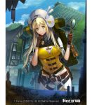 1girl bag belt blonde_hair breasts building cleavage copyright_name force_of_will gloves hat long_hair magnifying_glass official_art transparent_background tree upper_body yellow_eyes