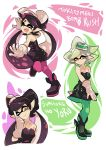 +_+ 2girls :d ;) ankle_boots aori_(splatoon) black_boots black_dress black_hair black_jumpsuit boots brown_eyes closed_eyes closed_mouth commentary cousins detached_collar domino_mask dress earrings english fangs food food_on_head gloves green_legwear grey_hair hotaru_(splatoon) jewelry light_smile long_hair looking_at_viewer mask mole mole_under_eye multiple_girls object_on_head one_eye_closed open_mouth pantyhose pointing pointing_up pointy_ears purple_legwear short_dress short_hair short_jumpsuit smile splatoon standing standing_on_one_leg strapless strapless_dress sushi tentacle_hair white_gloves wong_ying_chee