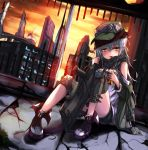 1girl assault_rifle black_shorts blue_hair blush broken_glass chocolate_bar closed_mouth clouds dutch_angle eating eyebrows_visible_through_hair flat_cap food full_body g11 g11_(girls_frontline) girls_frontline glass green_hat green_jacket gun hair_between_eyes hat head_tilt holding holding_food indoors jacket knee_pads long_hair looking_at_viewer off_shoulder rifle roon scarf shirt shoes shorts sitting sky solo sunset untied_shoes very_long_hair weapon white_shirt yellow_eyes