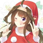 1girl ahoge brown_hair hairband hat headgear highres kantai_collection kongou_(kantai_collection) long_hair one_eye_closed pom_pom_(clothes) remodel_(kantai_collection) santa_costume santa_hat smile solo tonari_no_kai_keruberosu tongue tongue_out v violet_eyes white_flower