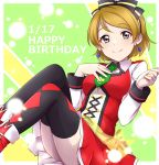 1girl black_legwear blush boots bow breasts brown_hair closed_mouth dated dress earrings eyebrows_visible_through_hair feet_out_of_frame green_background green_necktie grey_eyes hair_bow hand_on_own_chest happy_birthday jewelry koizumi_hanayo looking_at_viewer love_live! love_live!_school_idol_project medium_breasts necktie red_boots red_dress red_skirt sekina short_hair skirt smile solo spade_(shape) spade_earrings thigh-highs