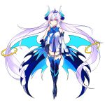 1girl absurdres armor armored_boots blue_boots blue_bow blue_bowtie blue_legwear boots bow bowtie chains detached_sleeve elsword eyebrows_visible_through_hair floating_hair full_body hair_between_eyes hair_ornament highres long_hair pointy_ears silver_hair simple_background solo thigh-highs thigh_hboots twintails very_long_hair white_background
