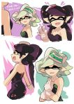 +_+ 2girls :d aori_(splatoon) black_dress black_hair black_jumpsuit brown_eyes closed_eyes closed_mouth cousins detached_collar domino_mask dress earrings english facing_viewer fangs food food_on_head from_side gloves grey_hair hotaru_(splatoon) jewelry light_smile long_hair looking_at_another mask mole mole_under_eye multiple_girls music object_on_head one_eye_closed open_mouth parted_lips pointy_ears short_hair singing smile splatoon standing strapless strapless_dress sushi tentacle_hair white_gloves wong_ying_chee