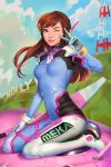 1girl ;) animal_print blue_bodysuit bodysuit breasts brown_eyes brown_hair bunny_print d.va_(overwatch) facepaint gloves headphones high_collar highres hollywood_sign lips manda_schank mecha meka_(overwatch) nose one_eye_closed overwatch pauldrons pilot_suit pink_lips ribbed_bodysuit shoulder_pads sitting skin_tight small_breasts smile solo v_over_eye wariza whisker_markings white_gloves