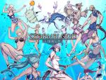 6+boys 6+girls animal_ears au_ra bikini blonde_hair blue_eyes blue_hair breasts brown_eyes brown_hair cat_ears cat_tail chocobo choker cleavage dragon_girl dragon_horns dragon_tail elezen elf facial_mark final_fantasy final_fantasy_xiv fish highres horns hyur jacket lalafell long_hair looking_at_viewer miqo'te moogle multiple_boys multiple_girls official_art one-piece_swimsuit open_clothes open_jacket pale_skin pointy_ears ponytail purple_hair riding roegadyn sandals scales short_hair silver_hair smile swimsuit tail twintails underwater watermark