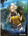 1girl aym bag belt blonde_hair breasts building cleavage copyright_name force_of_will gloves hat long_hair magnifying_glass official_art transparent_background tree upper_body yellow_eyes