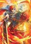 1boy armor blue_eyes cape cosplay durandal_(fire_emblem) eliwood_(fire_emblem) eliwood_(fire_emblem)_(cosplay) fire fire_emblem fire_emblem:_fuuin_no_tsurugi fire_emblem:_rekka_no_ken fire_emblem_heroes headband holding holding_weapon horse male_focus redhead roy_(fire_emblem) short_hair sukua55 sword weapon