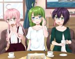 adjusting_glasses ahoge alternate_costume bangs blue_eyes blunt_bangs blush braid brown_eyes casual chest_of_drawers collarbone couch cup curtains dress eating eyebrows_visible_through_hair food glasses green_dress green_eyes green_hair hair_bun holding holding_cup holding_food indoors kantai_collection long_hair looking_at_another makigumo_(kantai_collection) model_ship multicolored_hair okinami_(kantai_collection) open_mouth painting_(object) parted_bangs pillow pink_hair purple_hair reflection shirt short_hair short_sleeves sitting smile suspenders table teacup teeth tongue twintails umino_haruka_(harukaumino6) window yuugumo_(kantai_collection)