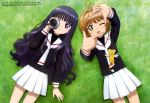 2girls absurdres ahoge brown_hair camera card_captor_sakura daidouji_tomoyo happy highres kero kinomoto_sakura long_hair multiple_girls one_eye_closed school_uniform short_hair smile violet_eyes wings
