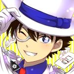 1boy bangs blue_eyes blue_shirt brown_hair cape card close-up face gloves grin hair_between_eyes hand_on_headwear hat kaitou_kid kuroba_kaito looking_at_viewer magic_kaito male_focus monocle necktie one_eye_closed red_necktie sekina shirt smile solo top_hat white_gloves white_hat yellow_background