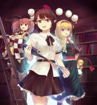 3girls :d alice_margatroid apron backlighting bell belt black_hair black_ribbon black_skirt blonde_hair blue_dress blue_eyes blue_nails blush_stickers book book_stack bookshelf boots capelet cowboy_shot cross-laced_footwear culter doorway dress fingernails hair_bell hair_ornament hairband hat indoors ladder leg_lift levitation library lolita_hairband long_hair long_sleeves looking_at_viewer meiji_schoolgirl_uniform motoori_kosuzu multiple_girls nail_polish open_book open_mouth parted_lips pointy_ears pom_pom_(clothes) puffy_short_sleeves puffy_sleeves puppet_rings red_eyes redhead ribbon sash scroll shameimaru_aya shanghai_doll shirt short_hair short_sleeves skirt smile standing standing_on_one_leg tokin_hat touhou two_side_up untucked_shirt waist_apron white_shirt wide_sleeves