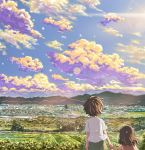 1boy 1girl anime_coloring bare_arms blue_sky brother_and_sister brown_dress brown_hair child clouds commentary_request day dress enokoro_(yamanoko2011) farm from_behind greenhouse hand_holding lens_flare light_particles mountain original outdoors rural scenery shirt short_hair siblings sky sleeveless sleeveless_dress sunset town upper_body white_shirt