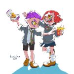 1boy 1girl bow chicken_nuggets food french_fries full_body highres inkling licking_lips mcdonald's necktie pink_hair purple_hair reaching school_uniform short_hair splatoon splatoon_2 tongue tongue_out yellow_eyes