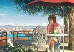 1girl balcony bendy_straw blue_dress blue_eyes blue_sky bow bowtie brown_hair capelet chair chin_rest city cityscape clouds cup daisy day dress drinking_glass drinking_straw elbow_rest expressionless flower frilled_skirt frills gem highres holding k_ryo legs_crossed looking_to_the_side mountain original outdoors railing red_bow red_bowtie shade shadow short_hair sitting skirt sky solo stairs straw table tree umbrella water