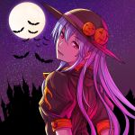 1girl alternate_color architecture arms_behind_back bat blue_hair brown_blouse eyebrows_visible_through_hair eyelashes fangs fangs_out full_moon gothic_architecture halloween hat hat_ornament hat_ribbon hinanawi_tenshi jack-o'-lantern kagaa_(user_vjrx4323) long_hair looking_at_viewer looking_back moon moonlight night outdoors puffy_short_sleeves puffy_sleeves red_eyes ribbon short_sleeves sky solo star_(sky) starry_sky touhou upper_body
