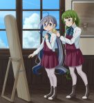 2girls adjusting_another's_clothes ahoge blue_bow blue_bowtie blue_eyes blue_hair boots bow bowtie braid clouds commentary_request cross-laced_footwear dress green_hair grey_eyes grey_hair grey_legwear hair_between_eyes highres houraijin indoors kantai_collection kiyoshimo_(kantai_collection) lace-up_boots long_hair low_twintails mole mole_under_mouth multicolored_hair multiple_girls musashi_(kantai_collection) pantyhose picture_(object) picture_frame school_uniform shirt sky sleeveless sleeveless_dress smile twintails very_long_hair white_shirt window wooden_floor yuugumo_(kantai_collection)