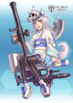 1girl animal_ears black_legwear blush brown_eyes character_request copyright_request dog_ears dog_tail eyebrows_visible_through_hair gun highres holding holding_gun holding_weapon horns kosai_takayuki long_hair looking_at_viewer mecha_musume open_mouth personification silver_hair sitting smile solo tail thigh-highs weapon