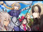 2boys 3girls armor armored_dress banner bare_shoulders blonde_hair blue_eyes braid chains character_request clenched_teeth day fate/grand_order fate_(series) fur_trim gauntlets hair_between_eyes headpiece jeanne_alter karokuchitose letterboxed long_hair looking_at_another marie_antoinette_(fate/grand_order) multiple_boys multiple_girls open_mouth outdoors ruler_(fate/apocrypha) saber_of_black scar silver_hair single_braid teeth very_long_hair yellow_eyes