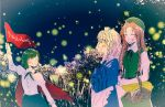 3girls antennae basket blush braid bush cape closed_eyes fireflies flag green_hair hat hong_meiling izayoi_sakuya long_hair maid maid_headdress multiple_girls neck_ribbon night night_sky open_mouth orange_hair picnic_basket redhead ribbon short_hair sky smile touhou twin_braids white_hair wriggle_nightbug yonu_(yonurime)