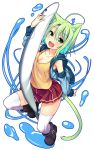 1girl :d animal_ears bangs black_boots boots breasts cat_ears cat_girl cat_tail cleavage dodome-iro_mayonnaise eyebrows_visible_through_hair fang full_body green_eyes green_hair hair_between_eyes highres hood hoodie looking_at_viewer medium_breasts open_mouth original red_skirt sardine short_hair skirt sleeveless sleeveless_hoodie smile solo tail tank_top thigh-highs white_legwear