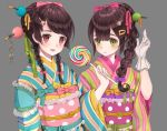 2girls bangs blue_kimono blunt_bangs blush braid brown_hair candy closed_mouth dress food gloves green_eyes green_kimono grey_background hair_ornament hair_ribbon hairclip hairpin holding_lollipop japanese_clothes kimono lollipop looking_at_viewer multicolored multicolored_clothes multicolored_dress multicolored_kimono multiple_girls obi parted_lips pink_eyes pink_ribbon ribbon sash simple_background smile swept_bangs tied_hair tress_ribbon usamochi. white_gloves