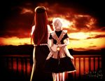 2girls apron back clouds dated dress hat hong_meiling izayoi_sakuya long_hair multiple_girls pocket_watch railing redhead short_hair signature silver_hair skirt sunset touhou watch white_hair yellow_sky yonu_(yonurime)