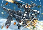 aircraft_carrier alien battle choujikuu_yousai_macross clouds commentary_request condensation_trail damaged energy_cannon explosion firing flying gunpod ichijou_hikaru itano_circus macross mecha meltrandi military military_vehicle power_armor prometheus_(ship) queadluun-rau quimeliquola science_fiction sdf-1 ship space_craft thrusters variable_fighter vf-1 vf-1j warship watercraft wreckage zentradi