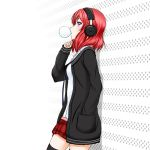 1girl against_wall black_legwear black_sweater blue_necktie cardigan chewing_gum from_side hair_between_eyes hand_in_pocket headphones long_hair love_live! miniskirt necktie nishikino_maki open_cardigan open_clothes pleated_skirt red_skirt redhead roaru_(gyuren) shirt skirt solo standing sweater thigh-highs violet_eyes white_background white_shirt zettai_ryouiki