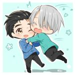 2boys ;d ^_^ big_cat_shan black_hair brown_eyes chibi closed_eyes coat hair_slicked_back heart-shaped_mouth highres imminent_hug jumping katsuki_yuuri male_focus multiple_boys one_eye_closed open_mouth silver_hair smile viktor_nikiforov yuri!!!_on_ice