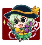 1girl :d black_eyes black_hat black_shoes chibi commentary_request eyebrows_visible_through_hair frilled_shirt_collar frilled_sleeves frills full_body green_hair green_skirt hair_between_eyes hat hat_ribbon heart heart_of_string holding holding_knife holding_phone knife komeiji_koishi looking_at_viewer noai_nioshi open_mouth outline phone red_background ribbon shirt shoes short_hair simple_background skirt smile solo sparkle string touhou white_border white_outline wing_collar yellow_ribbon yellow_shirt