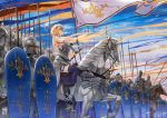 1girl armor blonde_hair blue_eyes clouds commentary_request fate/apocrypha fate_(series) flag headpiece helmet holding_flag horse jun_ling knight long_hair polearm purple_legwear ruler_(fate/apocrypha) shield sky solo_focus spear sunset sword thigh-highs weapon