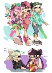 +_+ 3girls ;p aori_(splatoon) black_hair black_hat black_jacket black_shirt black_shoes blue_pants blue_shoes bracelet brown_eyes bucket cabbie_hat capri_pants casual chin_rest commentary cross-laced_footwear earrings eating english fangs food food_on_head french_fries glenna_nalira green_shirt green_skirt grey_hair hair_over_shoulder hat head_rest hotaru_(splatoon) jacket jewelry letterman_jacket locked_arms long_hair looking_at_another miniskirt mole mole_under_eye multiple_girls object_on_head one_eye_closed open_clothes open_jacket open_mouth pants parted_lips pleated_skirt pointing pointing_up pointy_ears polo_shirt print_shirt purple_hat purple_shirt purple_shorts red_jacket red_shoes scrunchie shirt shoes short_hair short_sleeves shorts side-by-side sitting skirt smirk sneakers splatoon standing striped_hat sushi sweatdrop t-shirt table tongue tongue_out walking wong_ying_chee