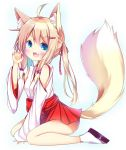 >:3 >:d 1girl :3 :d ahoge animal_ears arm_support bell bell_choker between_legs blonde_hair blue_eyes blush choker claw_pose commentary_request detached_sleeves esureki eyebrows_visible_through_hair fang fox_ears fox_girl fox_tail hair_between_eyes hair_bobbles hair_ornament hair_ribbon hairclip hakama hakama_skirt hand_between_legs hand_up japanese_clothes jingle_bell long_hair long_sleeves looking_at_viewer miko open_mouth original purple_ribbon red_hakama ribbon sidelocks simple_background sitting smile solo striped striped_ribbon tabi tail tareme twintails wariza white_background white_legwear white_sleeves wide_sleeves zouri