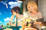 2girls allison_(summer_lesson) bangs black_hair blonde_hair blue_eyes blue_necktie blue_skirt blue_sky brown_eyes closed_mouth clouds cloudy_sky commentary fan flower guitar holding holding_fan holding_instrument house indoors instrument jewelry long_hair looking_at_viewer miyamoto_hikari multiple_girls music necklace necktie open_mouth paper_fan playing_instrument ponytail ribbed_sweater room rungsak_sontayanont scrunchie shirt short_shorts short_sleeves shorts sitting skirt sky smile summer_lesson sunflower sweater white_shirt